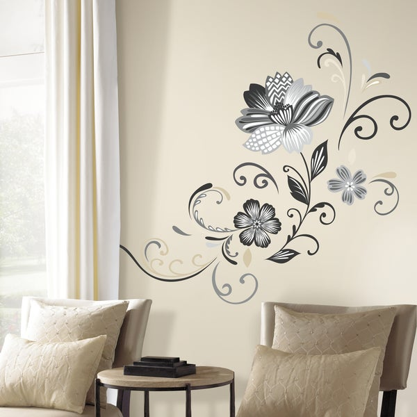 shop black and white flower scroll peel and stick giant wall decals