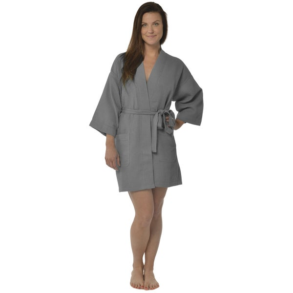 Shop Leisureland Women s 36-inch Waffle Weave Kimono Bath Robe ... 499b664a0