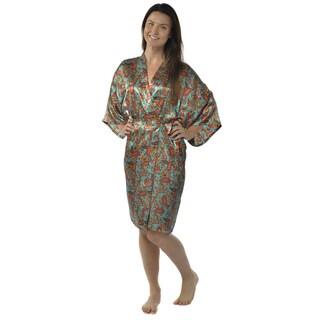 Leisureland Women's Paisley 42-inch Satin Charmeuse Kimono