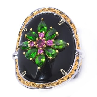 Michael Valitutti Black Onyx Ring with Multi Gemstone Detail