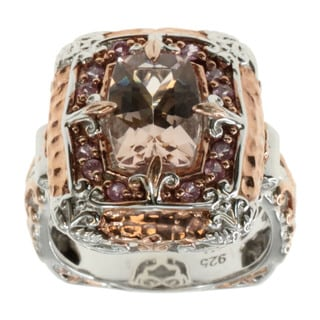 Michael Valitutti Palladium Silver Morganite and Pink Sapphire Ring