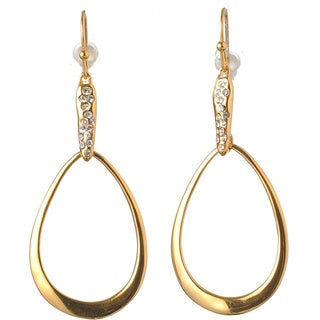 De Buman 18k Yellow Gold Plated or 18k Rose Gold Plated White Czech Dangle Earrings