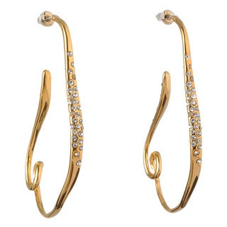 De Buman 18k Yellow Gold Plated or 18k Rose Gold Plated Crystal Dangle Earrings
