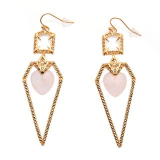 De Buman 18k Yellow Gold Plated or 18k Rose Gold Plated Rose Quartz Earrings
