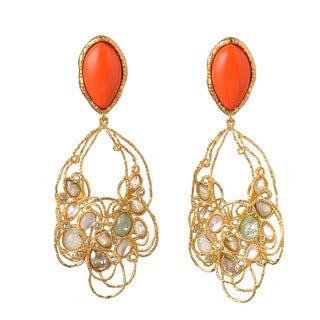 De Buman 18k Yellow Gold Plated or 18k Rose Gold Plated Red Coral and Multi-colored Crystal Earrings