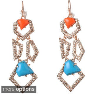 De Buman 18k Yellow Gold Plated or 18k Rose Gold Plated Irregular Polygon Turquoise and Red Coral Earrings
