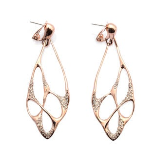 De Buman 18k Rose Gold Plated and White Czech Earrings