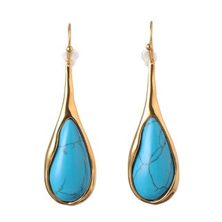 De Buman 18k Yellow Gold Plated Turquoise or 18k Rose Gold Plated Mother of Pearl Dangle Earrings
