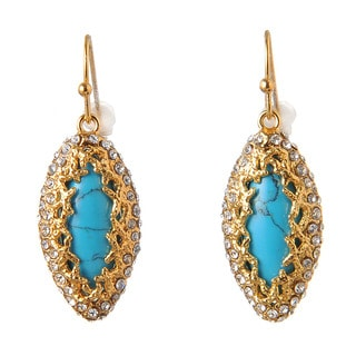De Buman 18k Yellow Gold Plated Turquoise and White Czech or 18k Rose Gold Plated Mother of Pearl Dangle Earrings
