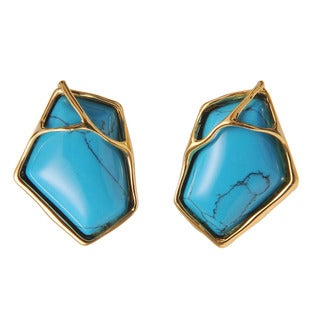 De Buman 18k Yellow Gold Plated or 18k Rose Gold Plated Irregular Pentagon Turquoise Earrings