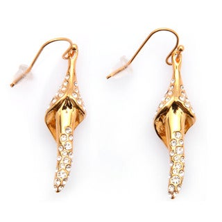 De Buman 18k Gold Plated or Black Rhodium Plated White Czech Dangle Earrings