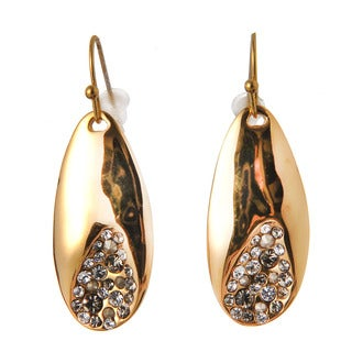 De Buman 18k Rose Gold Plated or 18k Yellow Gold Plated White Czech Dangle Earrings