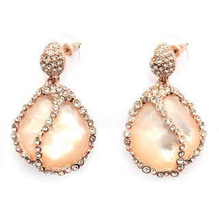 De Buman 18k Rose Gold Plated or 18k Yellow Gold Plated Mother-of-Pearl and Crystal Earrings