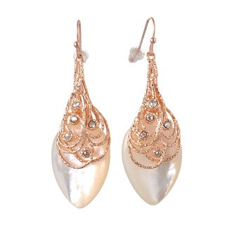 De Buman 18k Rose Gold Plated, 18k Yellow Gold Plated or Black Rhodium Plated Mother of Pearl Dangle Earrings