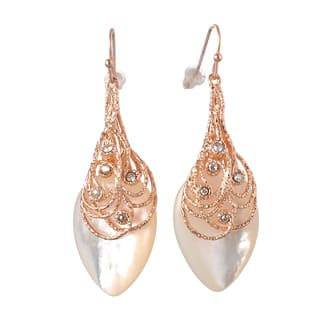 De Buman 18k Rose Gold Plated, 18k Yellow Gold Plated or Black Rhodium Plated Mother of Pearl Dangle Earrings https://ak1.ostkcdn.com/images/products/9722954/P16897187.jpg?impolicy=medium