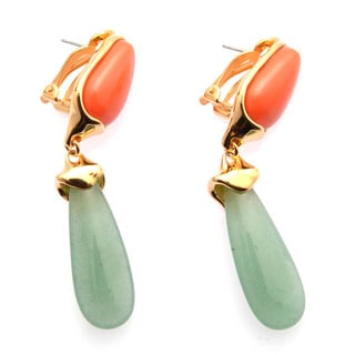 De Buman 18k Yellow Gold Plated or 18k Rose Gold Plated Red Coral and Aventurine Earrings