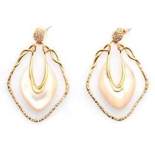 De Buman 18k Yellow Gold Plated Mother of Pearl and Crystal Earrings