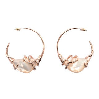De Buman 18k Rose Gold Plated Mother of Pearl Earrings
