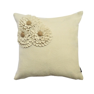 Beige Floral Woolen Felt 18-inch Throw Pillow