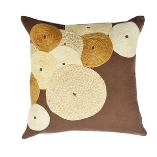 Dark Brown Cotton Jute Dori Embroidered Throw Pillow