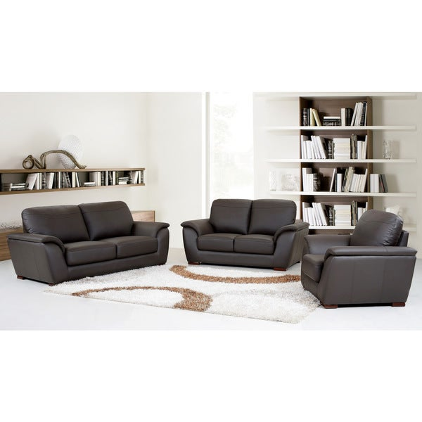 abbyson living ashton 3 piece top grain leather sofa loveseat and