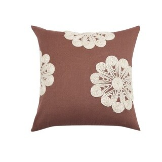 Brown Cotton Jute Dori Floral Embroidered Throw Pillow