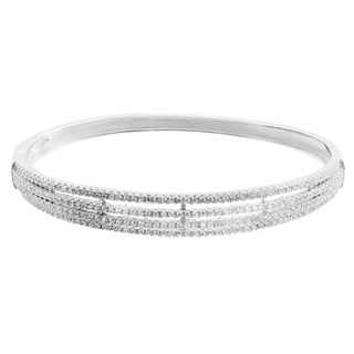 Journee Collection Sterling Silver Cubic Zirconia Bangle Bracelet