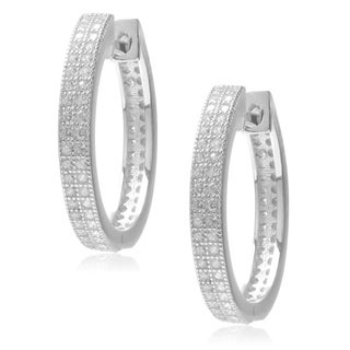 Journee Collection Sterling Silver Cubic Zirconia Hoop Earrings