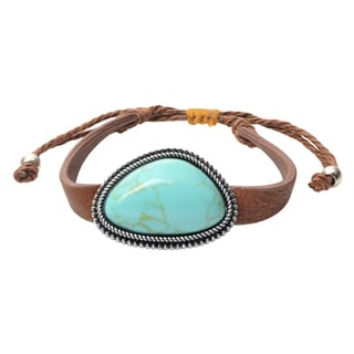 Journee Collection Faux Turquoise Pull-tie Bracelet