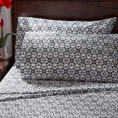 Porch & Den Quincy Black and White Scroll Percale Cotton Rich Sheet Set