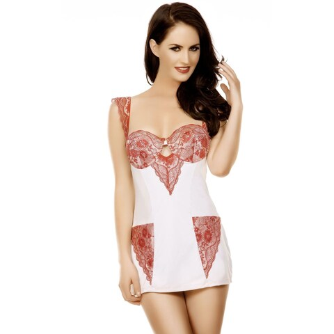 Popsi Lingerie Cream Mesh and Lace Babydoll with Matching Panty