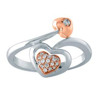 Bridal Symphony Two-tone Sterling Silver 1/10ct TDW Diamond Heart-cut Ring (I-J, I2-I3)