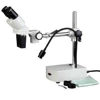 AmScope 10x Binocular Stereo Microscope on Boom Arm Stand and LED Goose-Neck Light