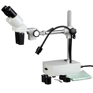 AmScope 5x-10x Binocular Boom Arm Stereo Microscope with Light
