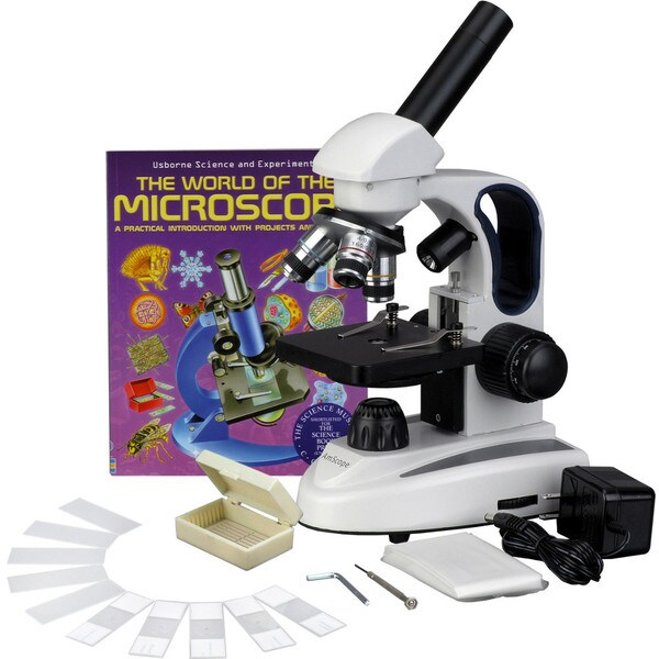 AmScope 40x-1000x LED Compound Microscope with Slide Kit and Book