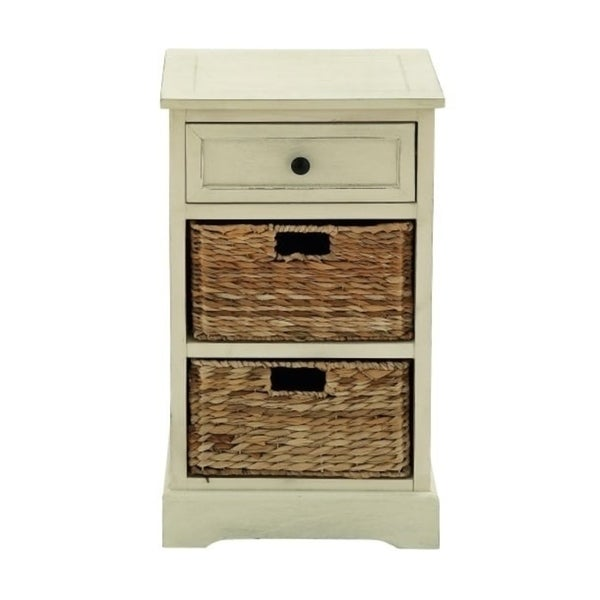 Antique White 28 Inch 2 Basket Wooden Storage Cabinet By Studio 350
