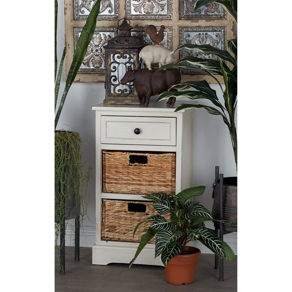 Farmhouse 28 X 16 Inch 2 Basket Wooden Storage Cabinet By Studio 350