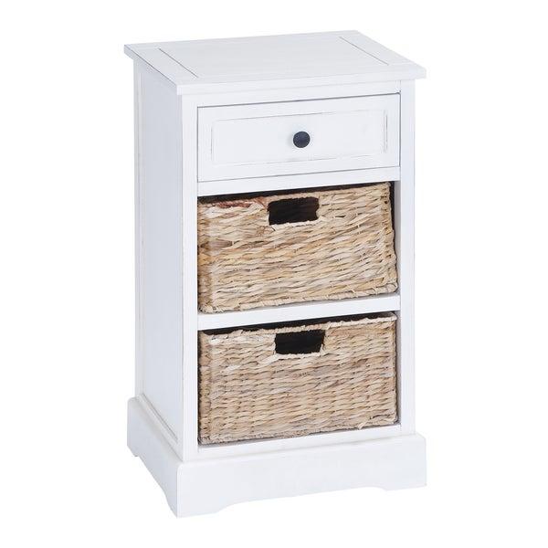 Wooden White 28-inch 2-basket Storage Cabinet - Wooden White 28-inch 2-basket Storage Cabinet - Free Shipping