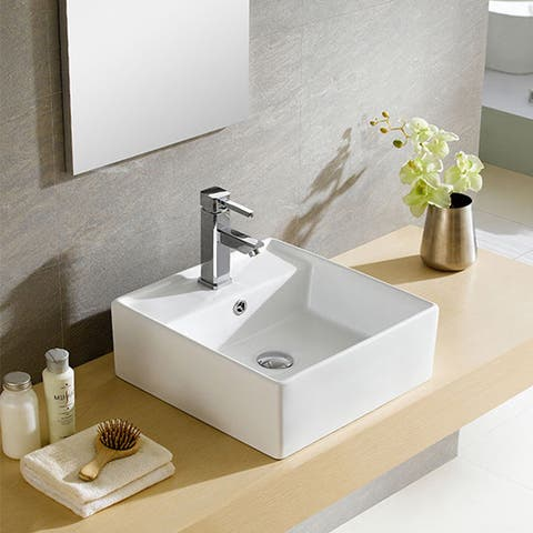 Fine Fixtures Modern White Vitreous China Square Vessel Sink
