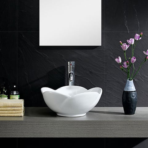 White Vitreous China Round Flower Vessel Sink