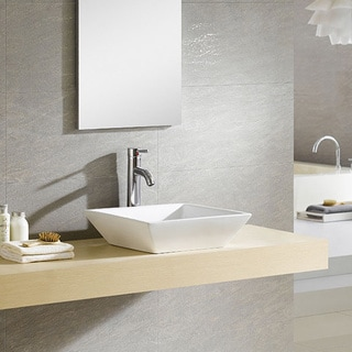 Fine Fixtures White Vitreous China Modern Square Vessel Sink