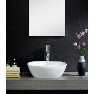 Fine Fixtures White Vitreous China Bulging Square Vessel Sink