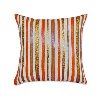Orange White Cotton Flex 18-inch Sequin Throw Pillow