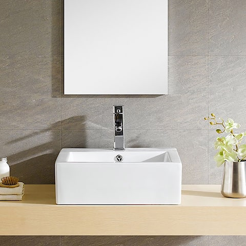 Fine Fixtures Modern Vitreous China Square Vessel Sink