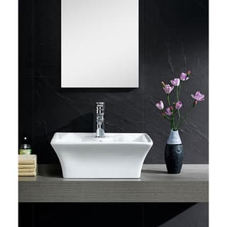 Fine Fixtures White Vitreous China Concave Square Vessel Sink