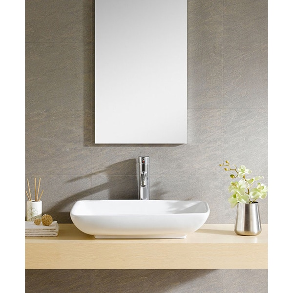 Shop Fine Fixtures White Vitreous China Rectangle Vessel Sink - Free ...