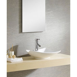 Fine Fixtures White Vitreous China Irregular Vessel Sink