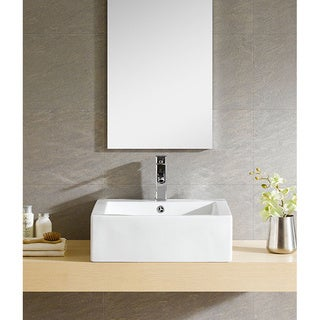Fine Fixtures White Vitreous China Square Modern Vessel Sink