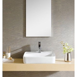 Fine Fixtures White Vitreous China Large Square Vessel Sink
