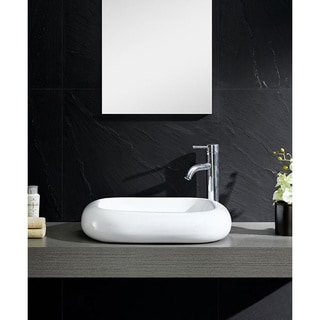 Fine Fixtures White Vitreous China Square curving Sides Vessel Sink